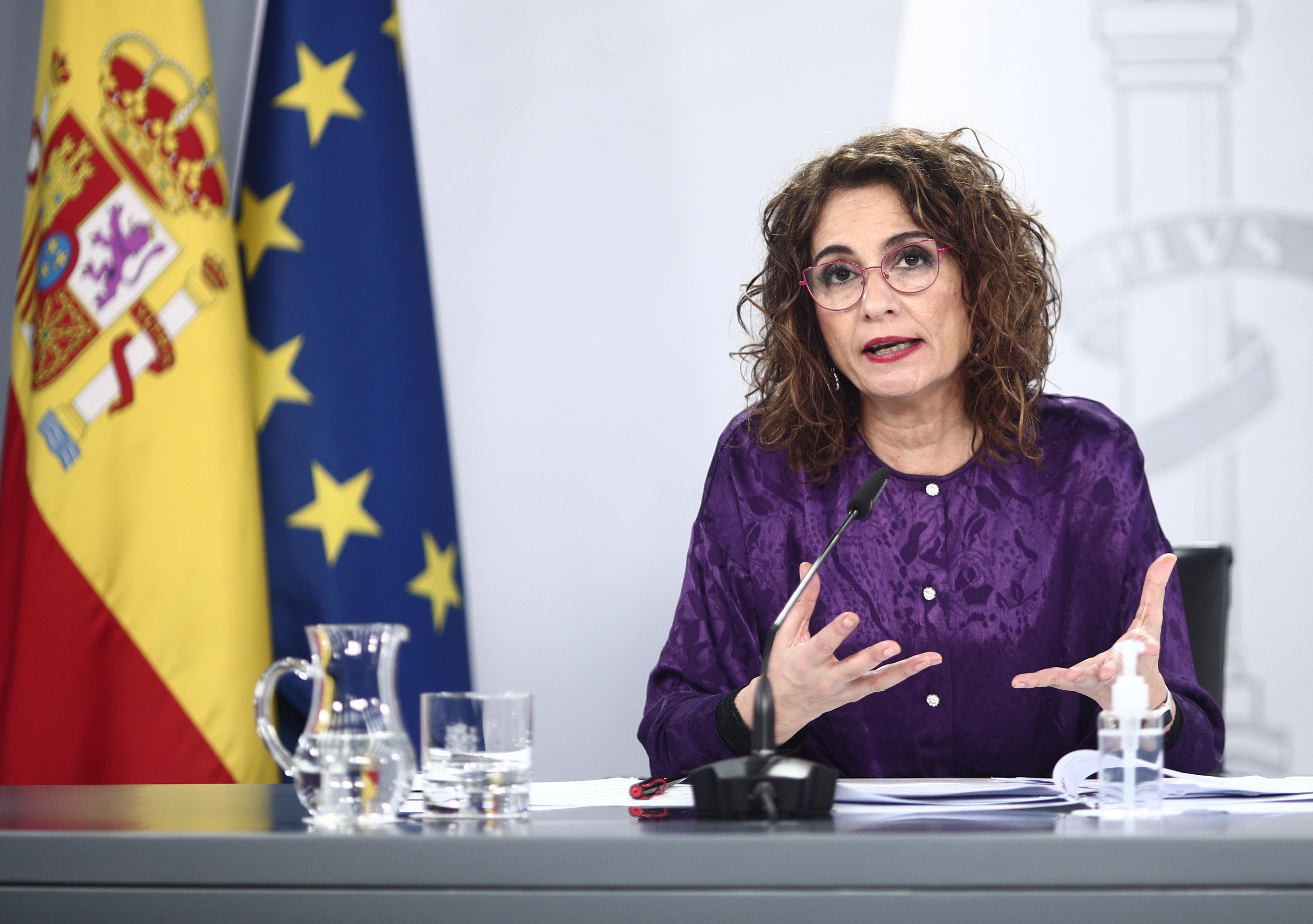 La ministra portavoz, María Jesús Montero, en la rueda de prensa posterior al Consejo de Ministros. Europa Press