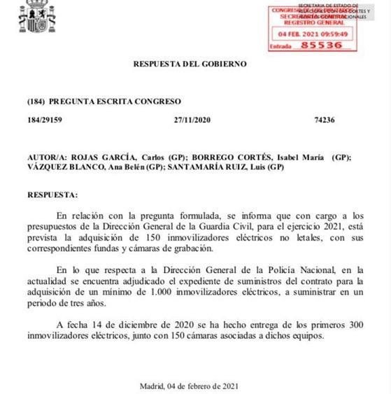 Respuesta parlamentaria compra de taser para la Guardia Civil y la Policía Nacional
