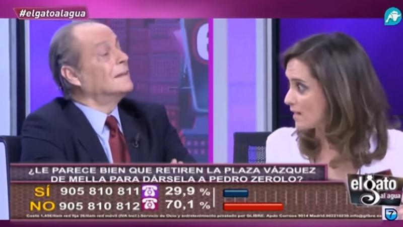 Eduardo García Serrano enfrentado con Isabel Díaz Ayuso en 'El Gato al Agua'. Intereconomía
