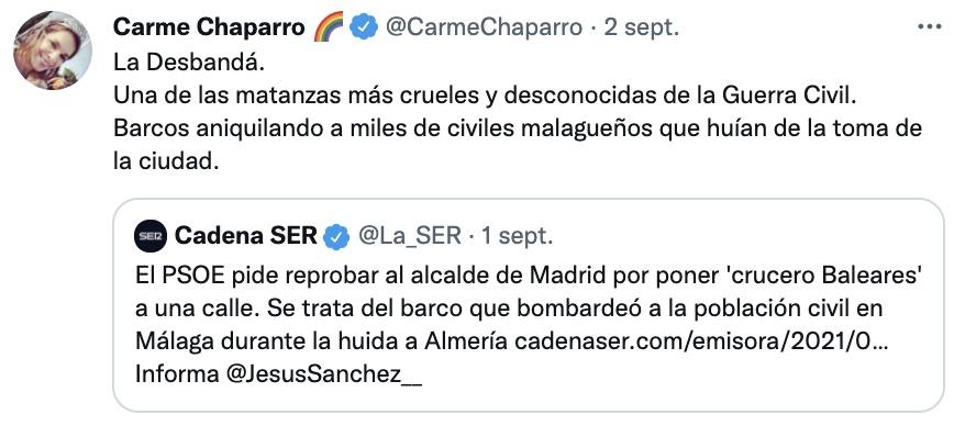 Tuit de Chaparro sobre memoria histórica