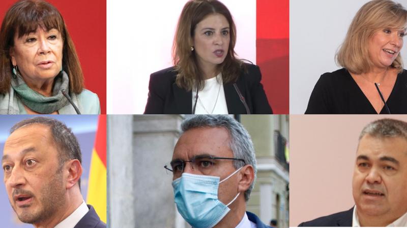 Los 6 nombres con más poder en el nuevo PSOE de Sánchez: Cristina Narbona, Adriana Lastra, LLanos Castellanos, Alfonso Gómez de Celis, Javier Izquierdo y Santos Cerdán. EP