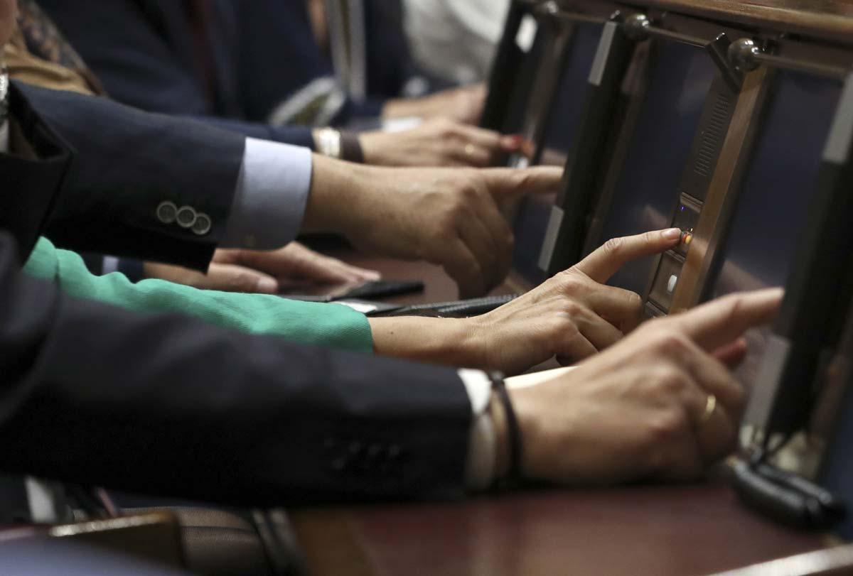 Un grupo de diputados votan durante el pleno del Congreso