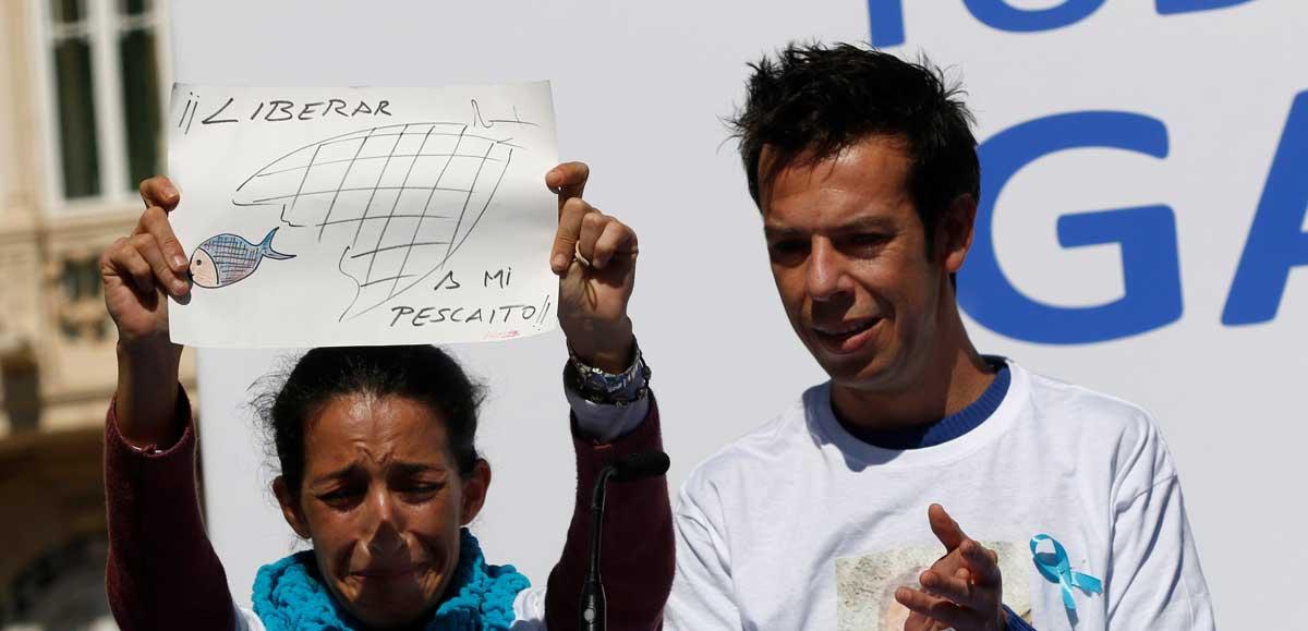 Patricia Ramírez y Ángel Cruz, los padres de Gabriel, durante la concentración en Almería.