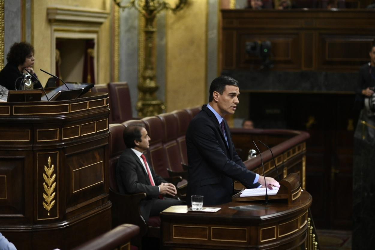 El presidente del Gobierno, Pedro Sánchez, durante el pleno sobre Cataluña y el Brexit