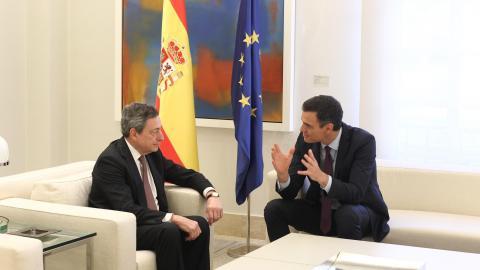 Draghi y Sánchez abordan la renovación del BCE