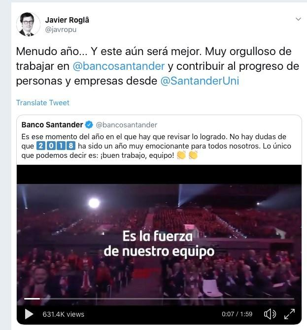 Tweet de Javier Roglá, Director  Global de Santander Universidades y CEO de Universia