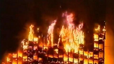 Así informó la televisión del incendio del Windsor