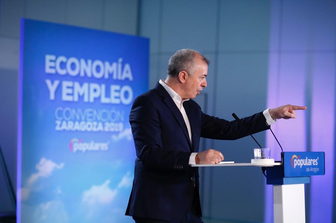Javier Campoy interviene durante el acto de clausura de la Convención de Economía y Empleo del PP en Zaragoza (Aragón) - Fabián Simón Europa Press