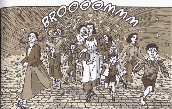 Imagen del cómic de la Desbandá de Carlos Guijarro, extraídas del libro 'Paseo de los canadienses'.