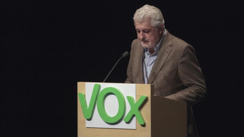El candidato por La Rioja de Vox al Congreso de los Diputados Jorge Cutillas en un acto del partido en Logroño