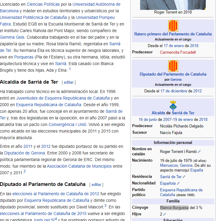 Captura de pantalla de la Wikipedia de Roger Torrent.