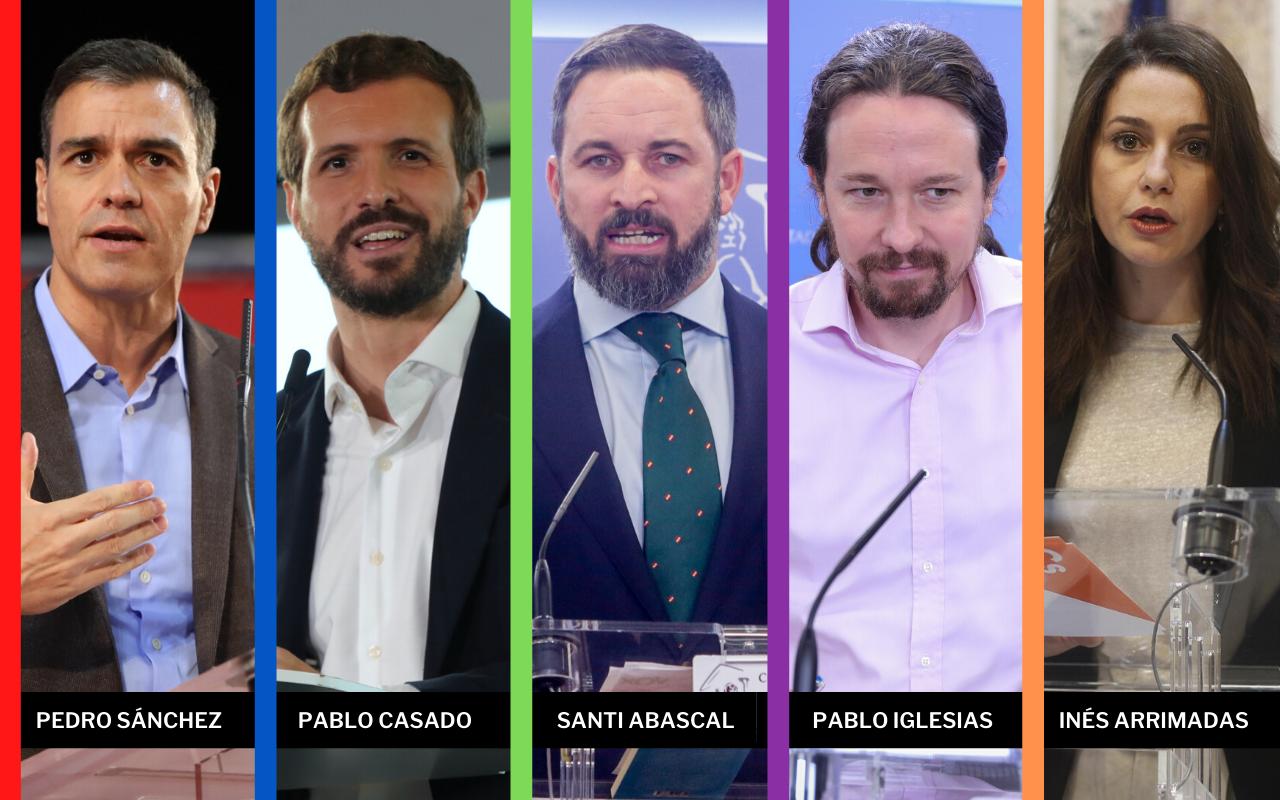 Pedro Sánchez, Pablo Casado, Santiago Abascal, Pablo Iglesias e Inés Arrimadas