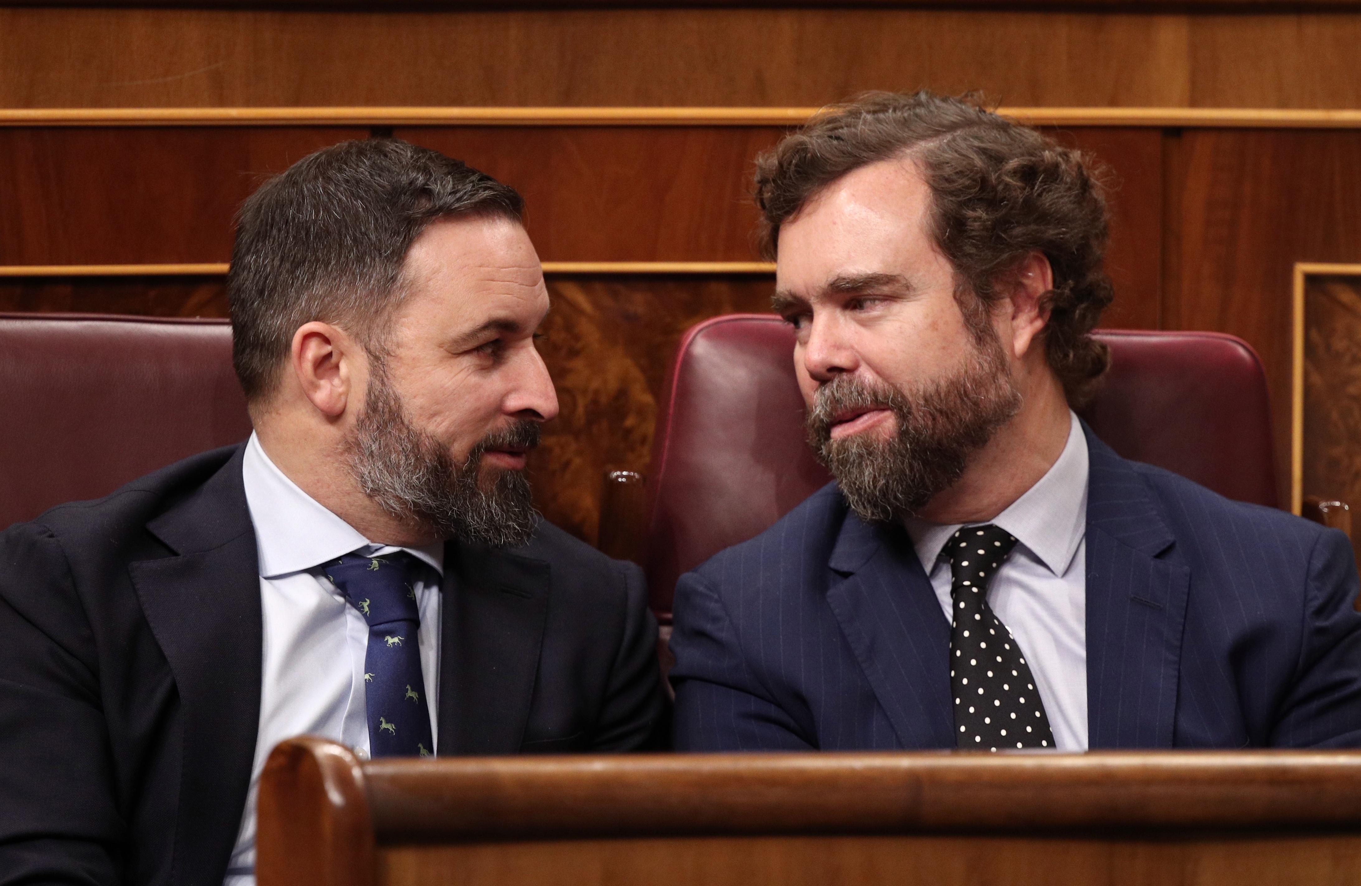 Santiago Abascal e Iván Espinosa de los Monteros en el Congreso de los Diputados. Fuente: ElPlural.com