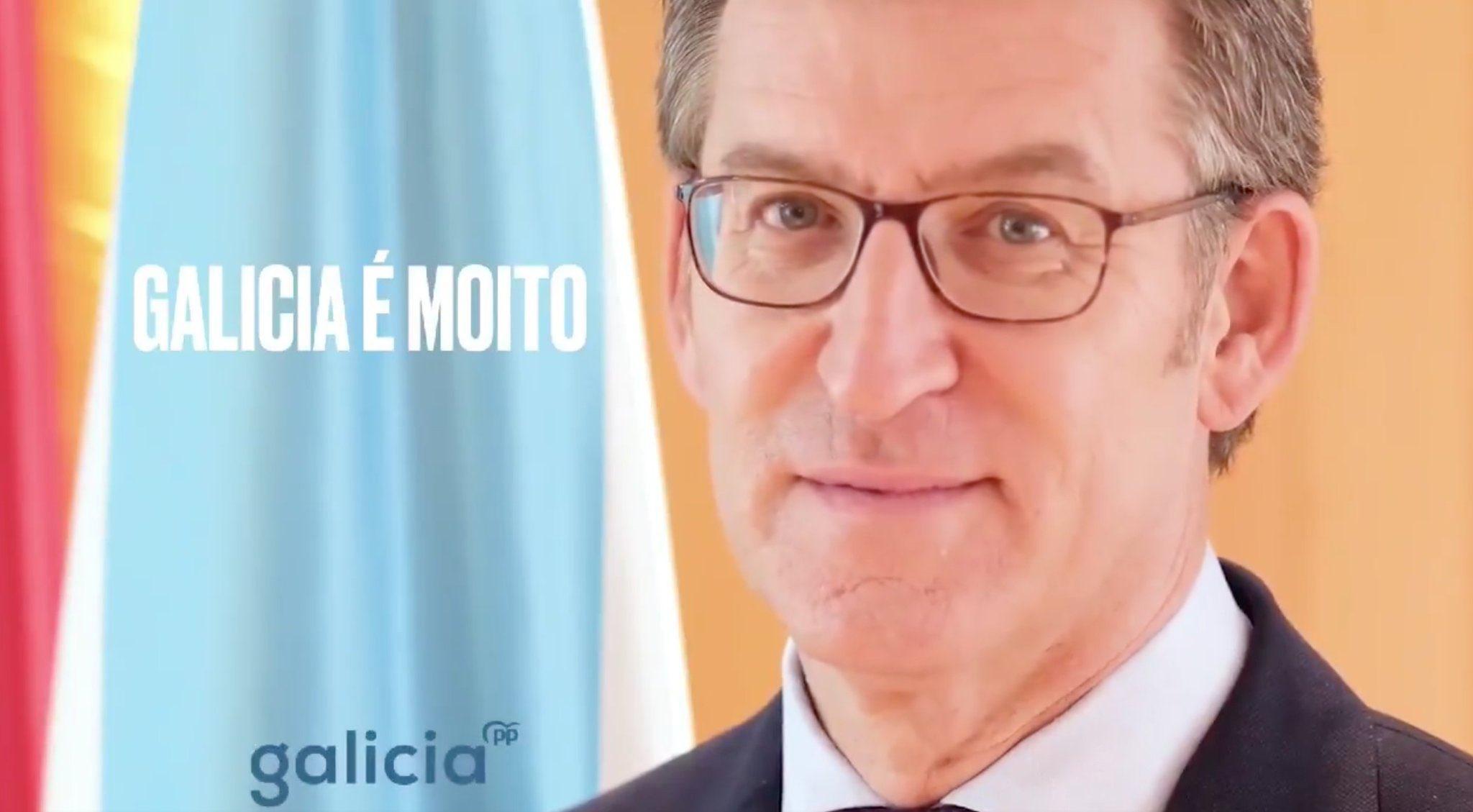Cartel electoral del PP de Galicia de cara a las elecciones del 5 de abril