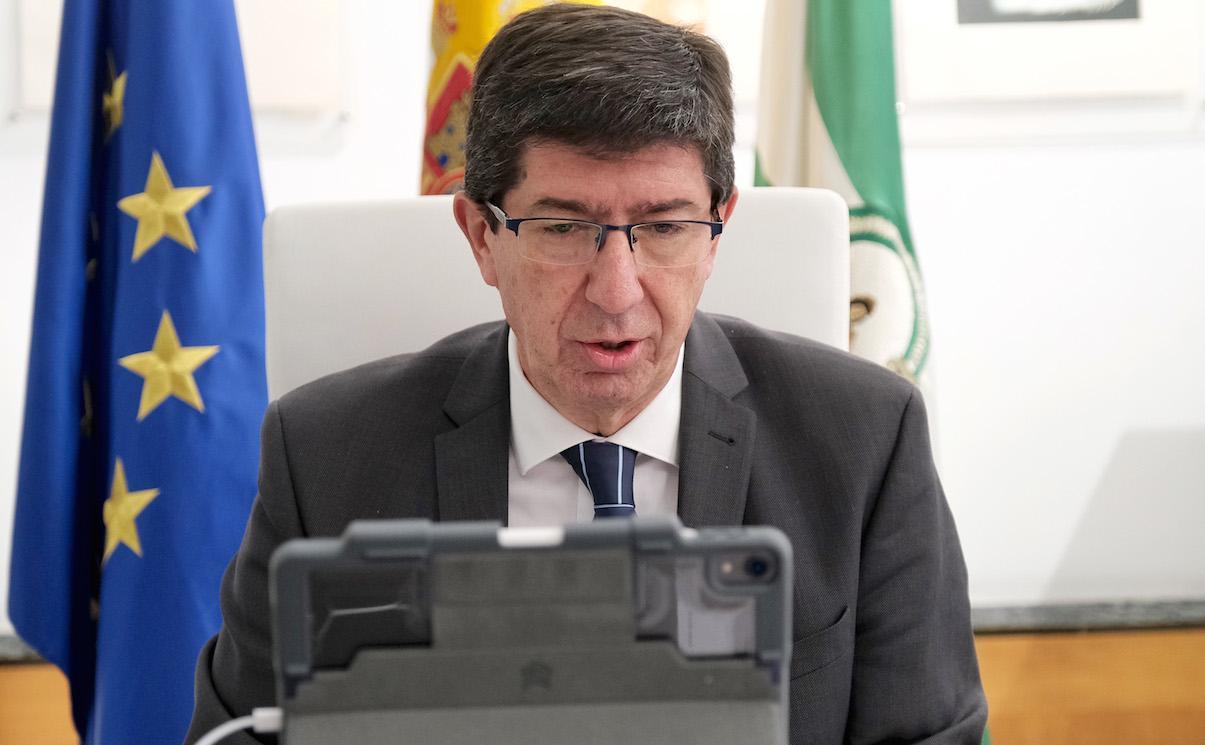 Juan Marin, vicepresidente de la Junta, en una comparecencia telemática en el Parlamento.
