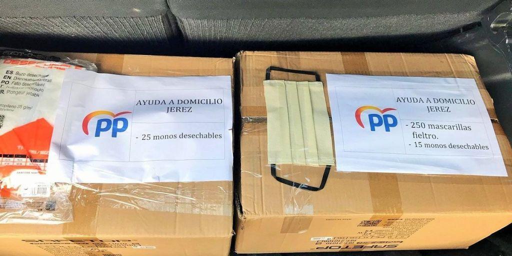 El material donado por el PP de Jerez. Fuente: Twitter,