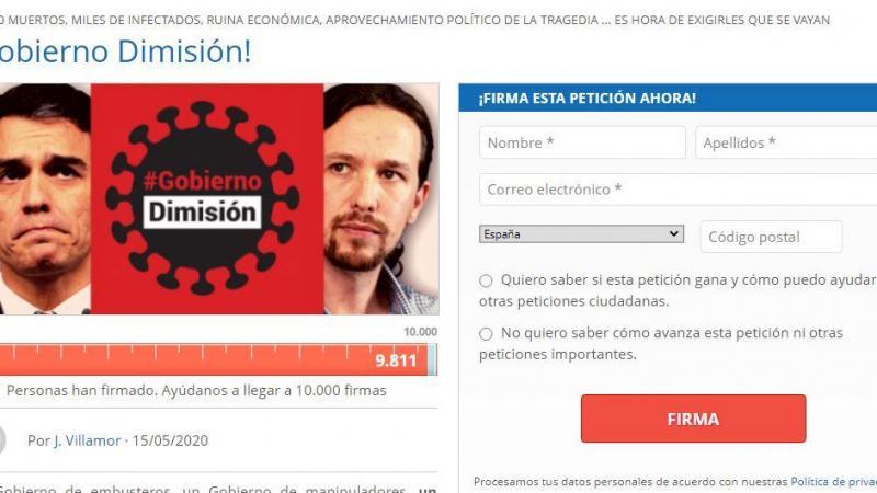 """Captura de la web de Hazte Oír en la que promueven una iniciativa bajo el nombre de """"Gobierno Dimisión"""""""