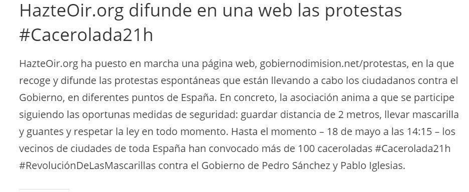 "Nota de prensa en la web de Hazte Oír presentado la web ""GobiernoDimision.net"""