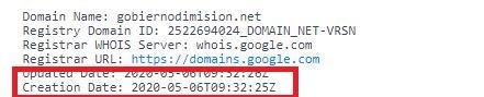 """Fecha de creación del dominio """"Gobiernodimision.net"""""""