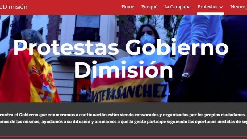 Captura de la Home de la web gobiernodimision.net