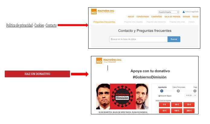 Los enlaces de la página gobiernodimision.net llevan a la de Hazte Oír