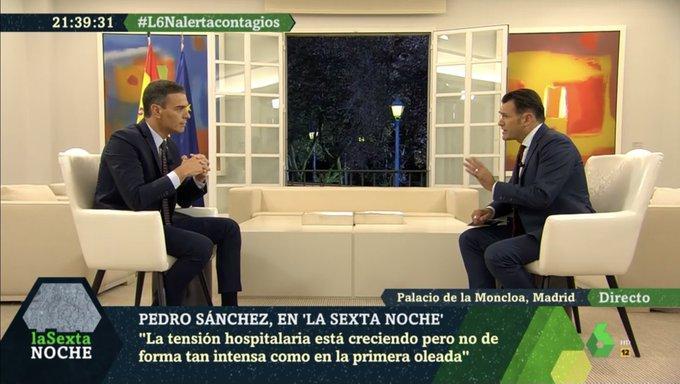 Iñaki López y Pedro Sánchez, durante la entrevista de este sábado en 'laSexta Noche. Fuente: laSexta.
