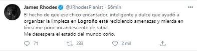 Tuit James Rhodes sobre amenazas chico que recogió los destrozos de Logroño
